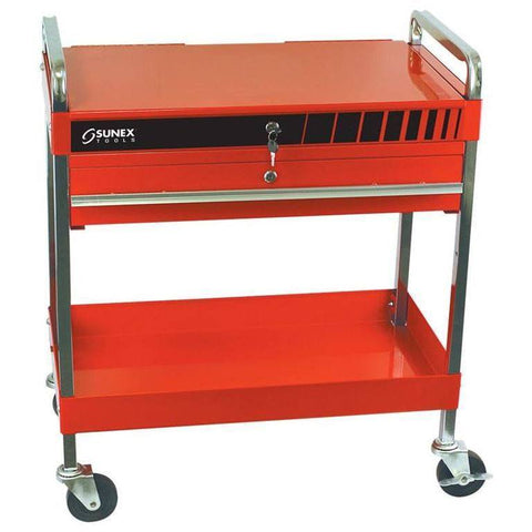Shop Equipments - Sunex Service Cart W/Locking Top And Locking Drawer-Red