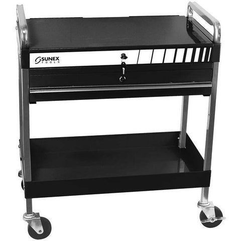 Shop Equipments - Sunex Service Cart With Locking Top And Drawer Black