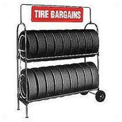 Tire + Wheel Displays - AA Two-Tier Tire Rack W/ Swinging Nylon And Stainless Steel Sign
