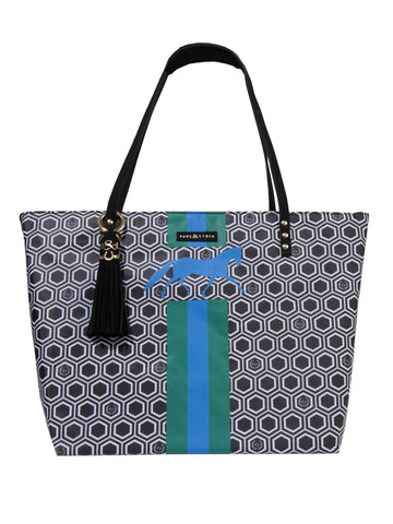 Equestrian Tote Black Geo Stripes