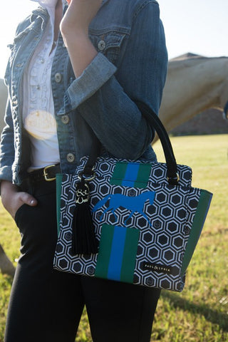 Equestrian Handbag - Black Geo Stripes