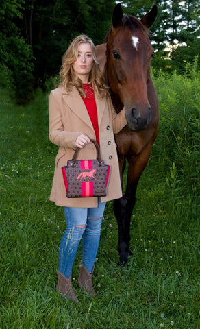 Equestrian Handbag - Brown Geo Stripes