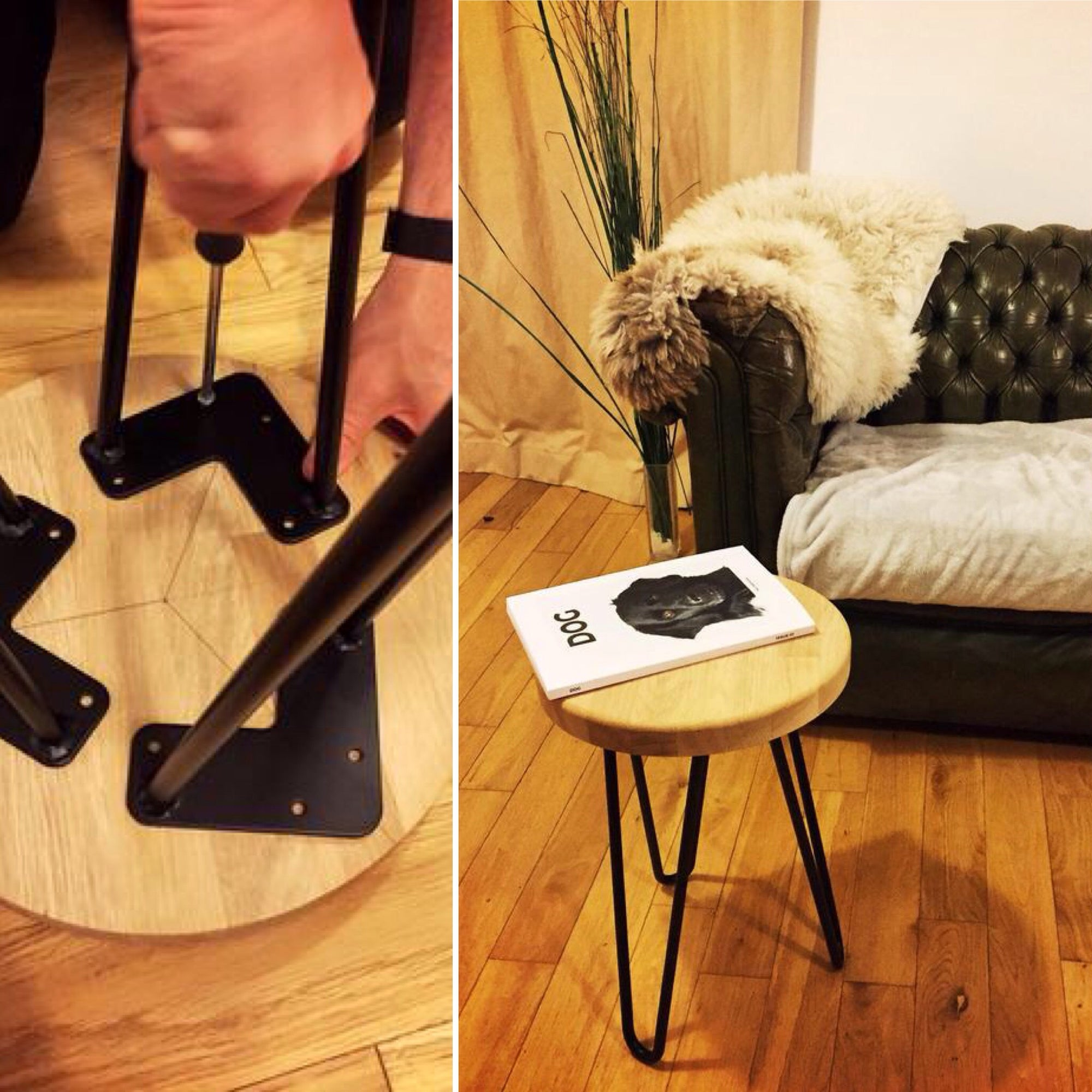 Make a DIY hairpin leg stool