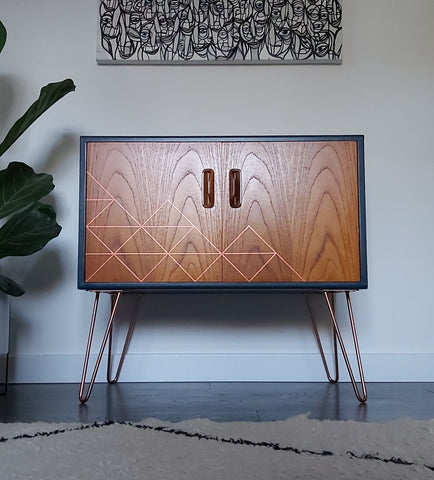 Midcentury furniture with copper hairpin legs
