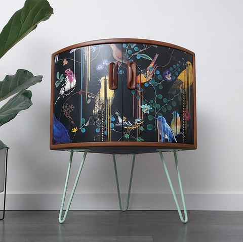 Decoupage furniture with green hairpin legs