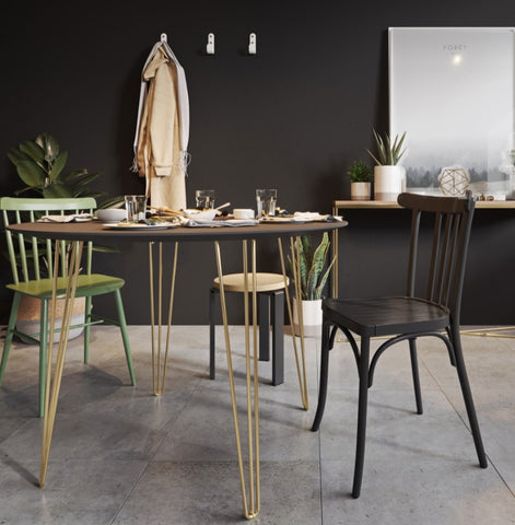 Brass hairpin table legs