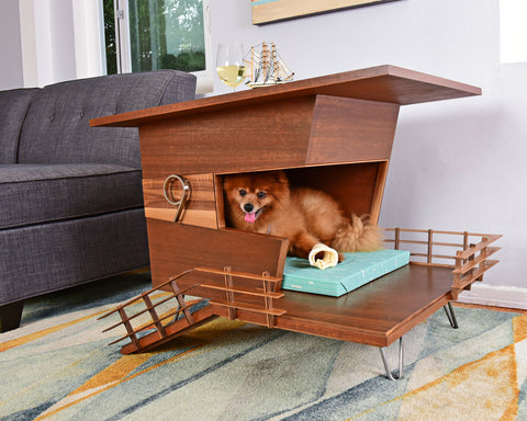 Indoor dog house with hairpin legs