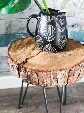 Wood stool with hairpin legs
