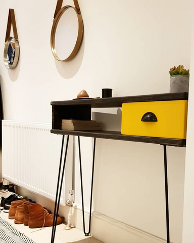 Custom console table with black hairpin legs