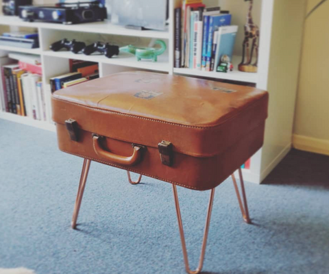 DIY suitcase coffee table with hairpin legs