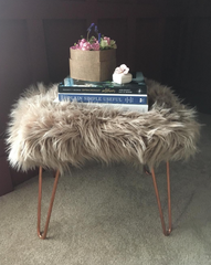 Sheepskin footstool copper hairpin legs