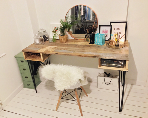 DIY pallet dresser with hairpin legs