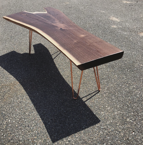 Walnut table with copper hairpin legs