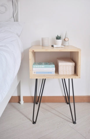 DIY nightstand with hairpin legs