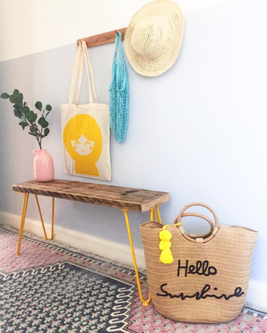 DIY scaffold table with yellow hairpin legs