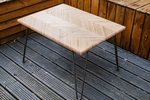 Herringbone garden table with hairpin legs