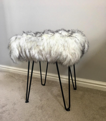 Sheepskin footstool hairpin legs
