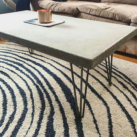 Concrete hairpin leg table