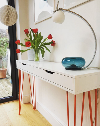 IKEA hack ekby Alex console table with hairpin legs