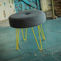 Upholstered footstool yellow hairpin legs