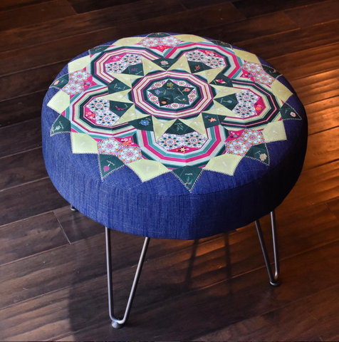 DIY ottoman with hairpin legs