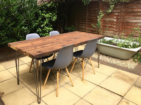 Outdoor table with hairpin legs