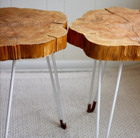 Cypress wood side tables with hairpin legs