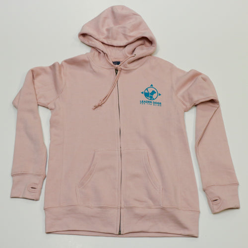 Ladies zip hood with thumbholes