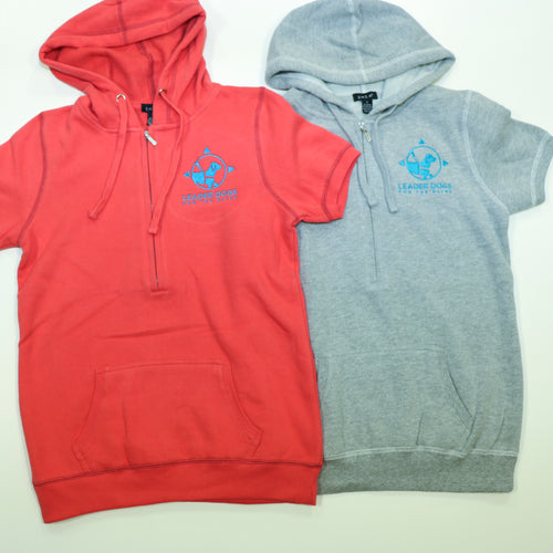 Ladies 3/4 zip short sleeve fleece hood