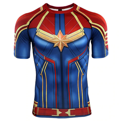 Captain Marvel Compression Top (Short Sleeves)