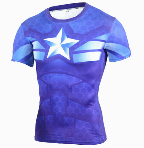 Captain America Compression Top (Shorts Sleeves)