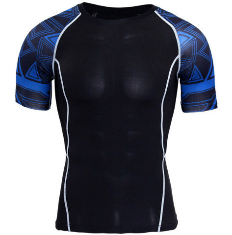 Cubix Blue Compression Top (Shorts Sleeves)