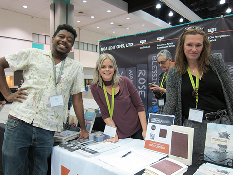 Derrick Austin, Jenna Fisher, and Melissa Hall at AWP