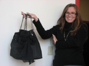 One-of-a-kind handmade evening bag by Rochester designer Bryce Grantham (modeled by Melissa Hall)