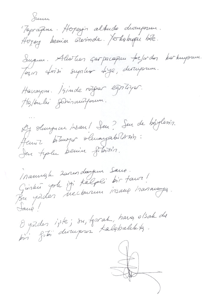 Handwritten poem by Ece Temelkuran