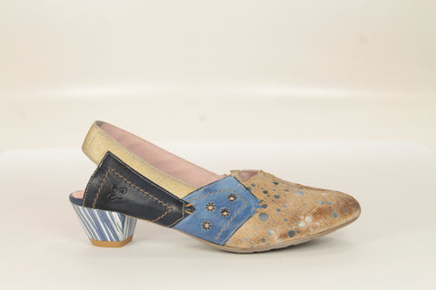 Custom Blue Multi Leather Pump