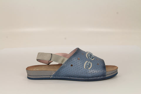 Custom Blue Leather Sandals