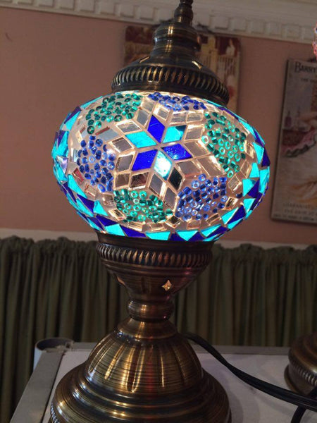Authentic Blue Turkish Lamp - Shops on Bay