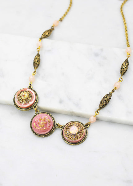 Pretty In Pink Vintage Button Necklace