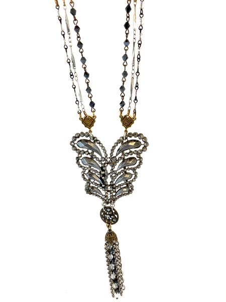 Cut Steel Tasseled Necklace - Feathered Buckle