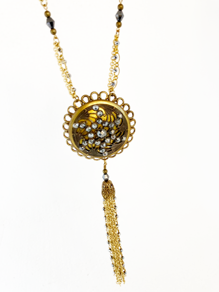 Cut Steel Necklace - Large Gold Button