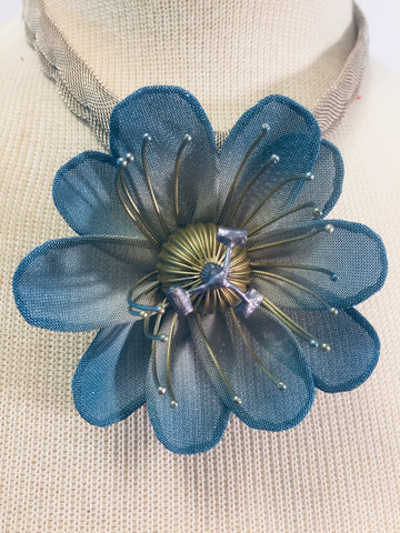 Custom Blue Flower Necklace
