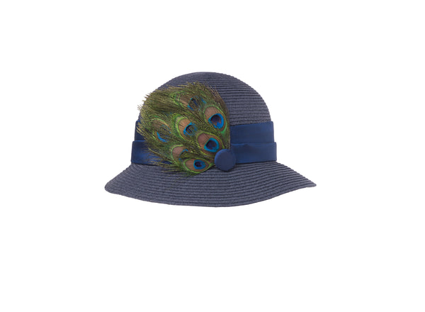 Peacock Feather Navy Hat