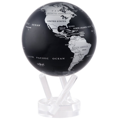 MOVA Floating Globe - Silver & Black Metallic Map