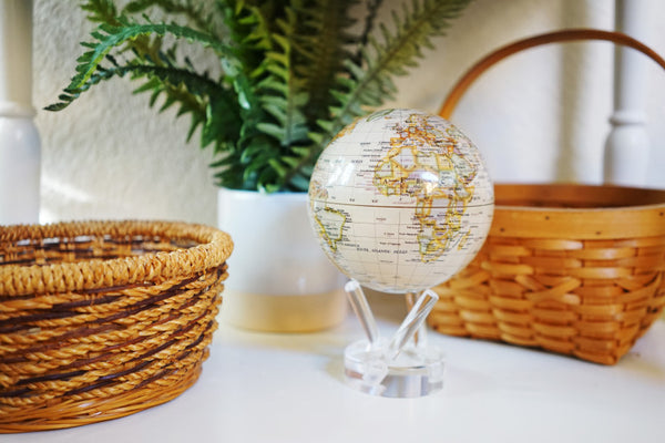 MOVING Antique Beige Map Globe - Shops on Bay  - 1