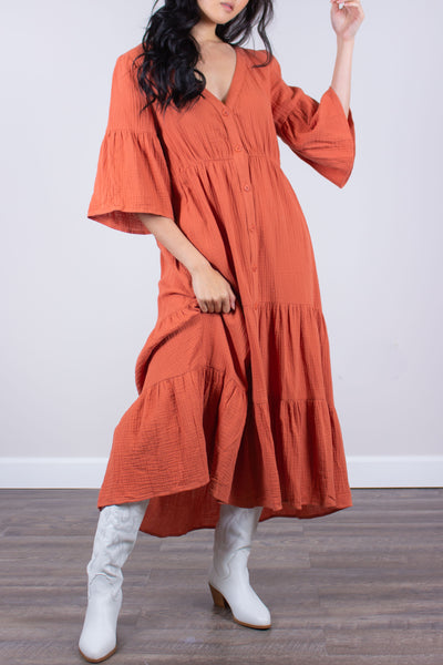 Terra Cotta  Cotton Duster Maxi Dress