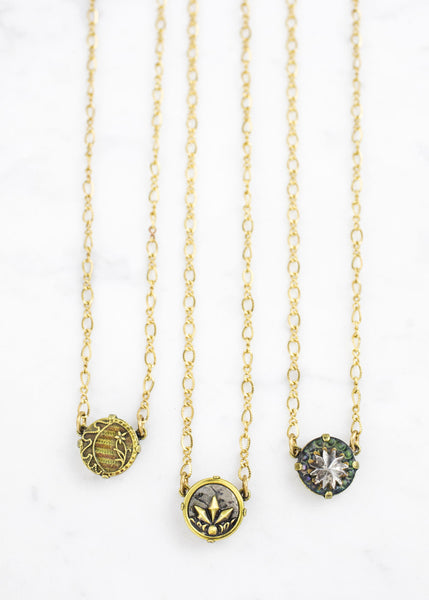 Brass Solitaire Antique Button Necklace