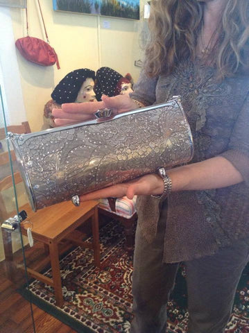 Hand-Hammered Aluminum Handbag with Swarvoski Crystals - Shops on Bay  - 1