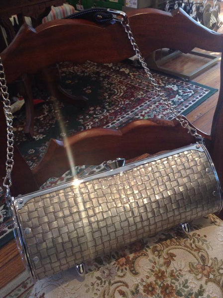 Hand-Hammered Aluminum Handbag with Criss-Cross Design - Shops on Bay  - 1