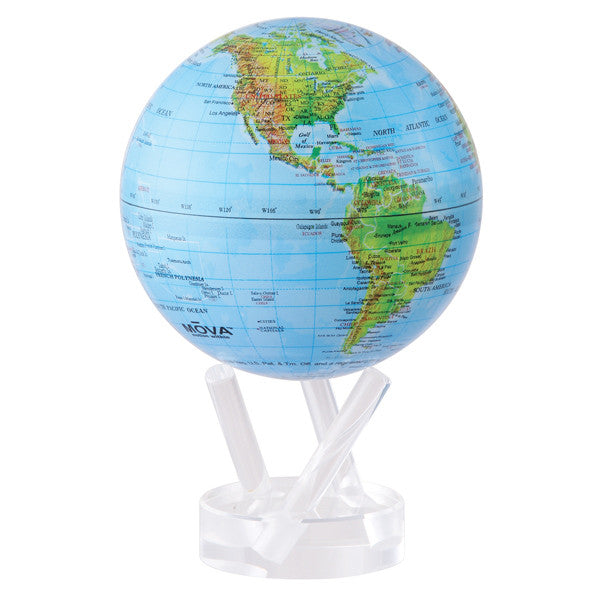 MOVA MOVING Blue with Relief Map Gloss Finish Globe - Shops on Bay  - 2